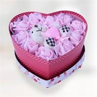 Sevgiliye Romantik Kalbim Sende Pembe Gül Aranjmanı