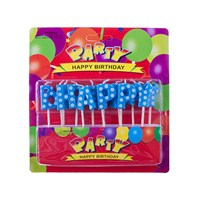 Kullanatmarket Mavi Puantiyeli Happy Birthday Yazı Mum 1 Adet