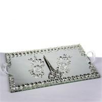 Mukko Home Aynalı Söz Nişan Tepsi Takımı - Gümüş (40 X 25)