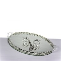 Mukko Home Aynalı Söz Nişan Tepsi Takımı - Gümüş (35 X 22)