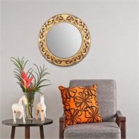 Carven Dekoratif Motifli Ayna Kahve Altın