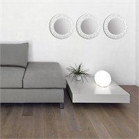 Carven Dekoratif Motifli 3'Lü Ayna Çatlak Beyaz