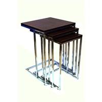 Zigon Sehpa Metal Ayaklı - Ceviz - 44X44x60 Cm