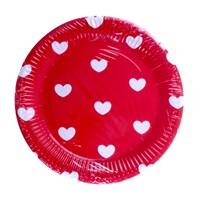 Kullanatmarket Kalp Puantiyeli Kırmızı Karton Tabak 10 Adet