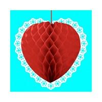KullanAtMarket Dantelli Kırmızı Petek Fener 1 Adet