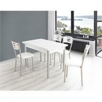 Bestline Samba Yandan Açılır Masa Ve Sandalye Takımı - Beyaz (6 Sandalyeli)