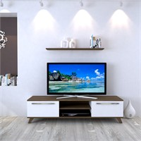 Eyibil Mobilya Aleyna 160 cm Gövde Ceviz Kapak Beyaz Tv Sehpası Tv Ünitesi Duvar Raflı