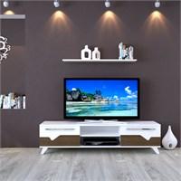Eyibil Mobilya Aleyna 160 cm Gövde Beyaz Kapak Ceviz-Beyaz Tv Sehpası Tv Ünitesi Duvar Raflı