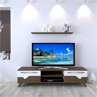 Eyibil Mobilya Aleyna 160 cm Gövde Ceviz Kapak Ceviz-Beyaz Tv Sehpası Tv Ünitesi Duvar Raflı