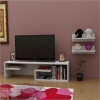 Pascal Tv Sehpası & Raf Seti Beyaz