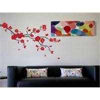 Dekorjinal Sticker Kırmızı Çiçekli Ağaç - Tsn11