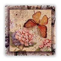 Oscar Stone Butterfly And Flowers Taş Tablo