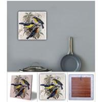 Oscar Stone Kuşlar Doğal Taş Tablo - 20X20 Cm