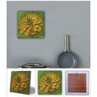 Oscar Stone Sarı Bitki Doğal Taş Tablo - 20X20 Cm