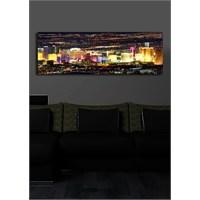 Renkli Şehir İçten Aydınlatmalı Kanvas Tablo -30X90