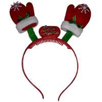 Noel Eldiveni Şeklinde Kırmızı Renk Işıklı Çocuk Tacı