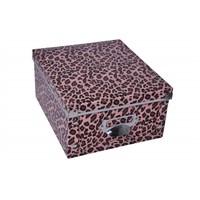 Plastik Leopar Desen Kutu 25.5X22.5X13 Cm Jumbo Büyük