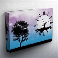 Sevgililer Günü Özel Canvas Tablo Saat 45X30cm
