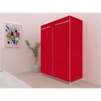 Prado Lüks Çantalı Tela Bez Dolap - Kırmızı
