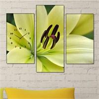 Tabloshop - Burgeon 3 Parçalı Simetrik Canvas Tablo Saat - 80X60cm