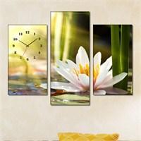 Tabloshop - Bamboo Lotus 3 Parçalı Simetrik Canvas Tablo Saat - 80X60cm
