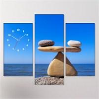 Tabloshop - Balance 3 Parçalı Simetrik Canvas Tablo Saat - 80X60cm