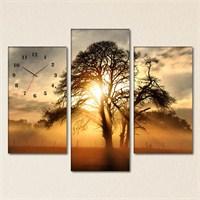 Tabloshop - The Old Sunset Tree 3 Parçalı Simetrik Canvas Tablo Saat - 80X60cm
