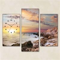 Tabloshop - Rocky Wave 3 Parçalı Simetrik Canvas Tablo Saat - 80X60cm