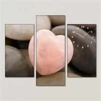 Tabloshop - Heart Stone 3 Parçalı Simetrik Canvas Tablo Saat - 80X60cm