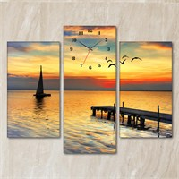 Tabloshop - Seagulls Sunset 3 Parçalı Simetrik Canvas Tablo Saat - 80X60cm