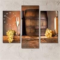 Tabloshop - White Wine 3 Parçalı Simetrik Canvas Tablo Saat