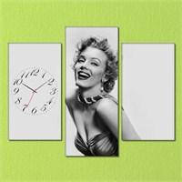 Tabloshop - Marilyn Monroe 3 Parçalı Simetrik Canvas Tablo Saat