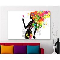 Çiçek Şaçlı Kız Kanvas Tablo