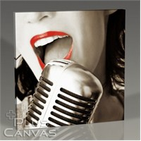 Pluscanvas - Red Lips And The Microphone Tablo