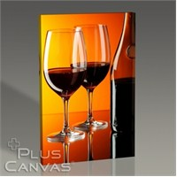 Pluscanvas - Red Wine Over Orange Wall Tablo