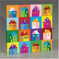 Pluscanvas - Colored Houses Tablo