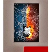 Sıcak Soğuk Gitar Dekoratif Kanvas Tablo