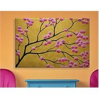 Pembe Açan Ağaç Kanvas Tablo