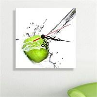 Kanvas Saat Yeşil Elma