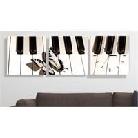 Piyano ve Kelebek 3 Parçalı Tablo Saat