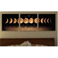 Ayın Evreleri 3 Parçalı Tablo Saat