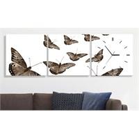 Kelebekler 3 Parçalı Tablo Saat