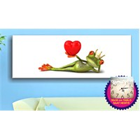 Arte Kurbağa ve Kalp Kanvas Tablo (Saat HEDİYE)
