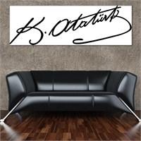 Tabloshop - Mustafa Kemal Atatürk İmza Canvas Tablo - 90X30cm