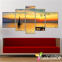 Tabloshop - Gün Batımı 5 Parçalı Canvas Tablo 180X90cm