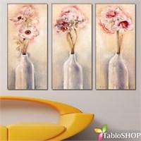 Tabloshop - Groupe Fleurs 3 Parçalı Canvas Tablo 111X75cm