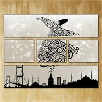 Tabloshop - Semazen - 5 Parçalı Canvas Tablo 126X96cm