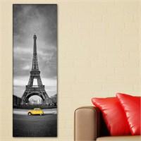 Tabloshop - Eiffel And Red Car Yellow Canvas Tablo - 90X30cm