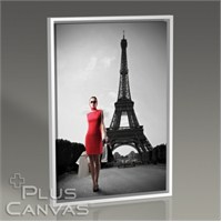 Pluscanvas - Paris - Red Dressed Woman Tablo