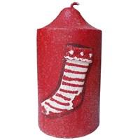 Kırmızı Çorap Desenli Simli Kırmızı Yılbaşı Mum 13 Cm